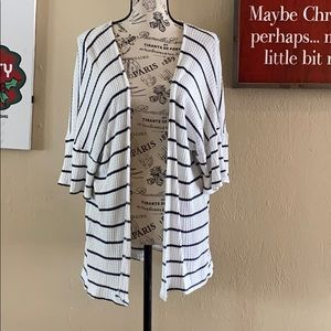 Altar'd State Open Striped Waffle Cardigan
